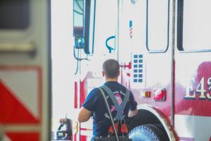 Team walking through the fire house.